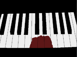 picture of a piano, 3 keys obscured by blood
