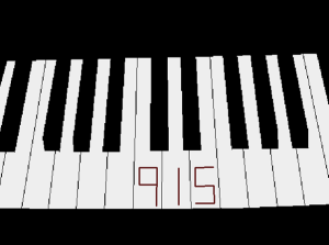 clean piano, three keys bearing numbers